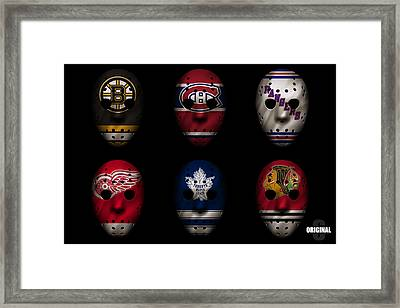 Original Six Jersey Mask Framed Print by Joe Hamilton