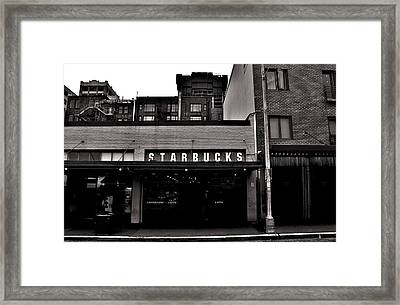Original Starbucks Black And White Framed Print