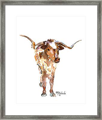 Original Longhorn Standing Earth Quack Watercolor Painting By Kmcelwaine Framed Print by Kathleen McElwaine