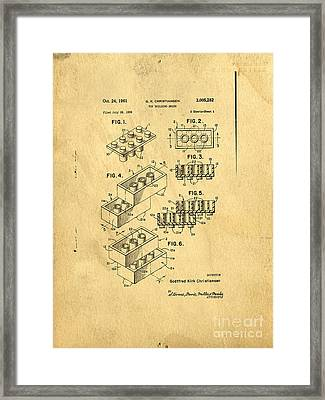 Original Us Patent For Lego Framed Print by Edward Fielding