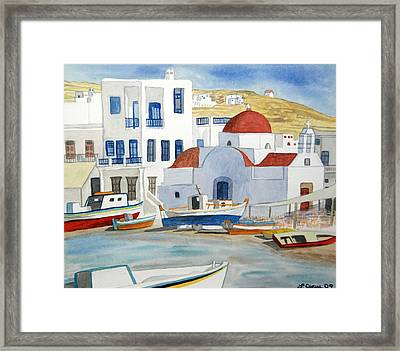 Framed Print featuring the painting Watercolor - Mykonos Greece Detail by Cascade Colors