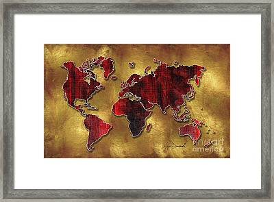 Original World Map Design Gold And Vibrant Red Unique Art By Megan Duncanson Framed Print by Megan Duncanson