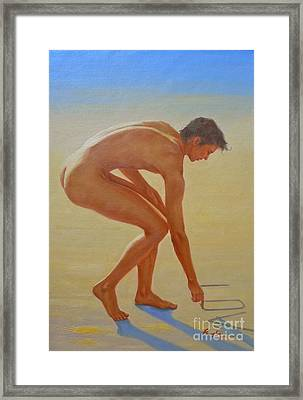 Original  Young Man Body Oil Painting  Gay Art - Male Nude By The Sea-055 Framed Print