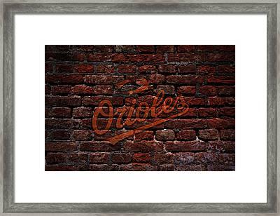Orioles Baseball Graffiti On Brick  Framed Print by Movie Poster Prints