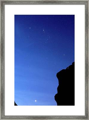 Orion And Jupiter Framed Print by Luis Argerich