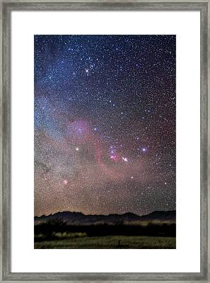 Orion And Taurus Rising Framed Print by Alan Dyer