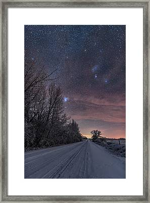 Orion Down The Snowy Road Framed Print