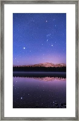 Orion Over Lake Annette Framed Print by Alan Dyer