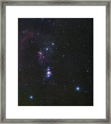 Orion's Belt And Nebulae Framed Print