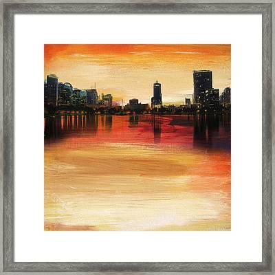 Orlando City Skyline  Framed Print