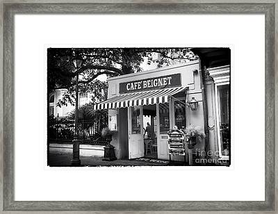 Orleans Cafe Beignet Framed Print by John Rizzuto