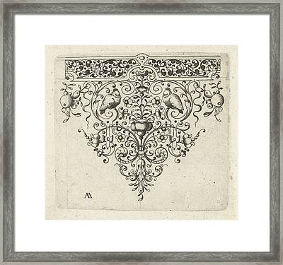 Ornament Featuring Flowers And Two Birds Framed Print by Laurent Jansz Micker And Anonymous