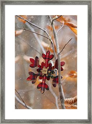 Ornament Hanging On Branch With Snow Falling Framed Print by Sandra Cunningham