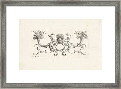 Ornament With A Mascaron Surrounded By Foliate Scrolls Two Framed Print by Bernard Picart