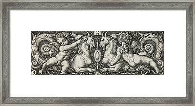 Ornament With Two Genii Riding On Two Chimeras Framed Print
