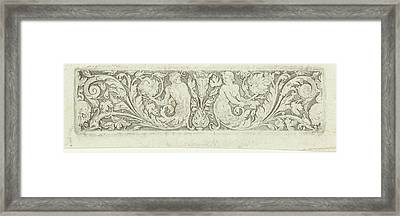 Ornament With Two Tritons And Two Skulls Framed Print by Litz Collection