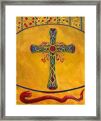 Ornamental Cross And Snake  Framed Print