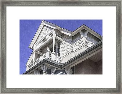 Ornate Balcony With View Framed Print by Lynn Palmer