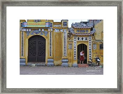 Ornate Buildings In The City Centre Of Hanoi Framed Print by Sami Sarkis
