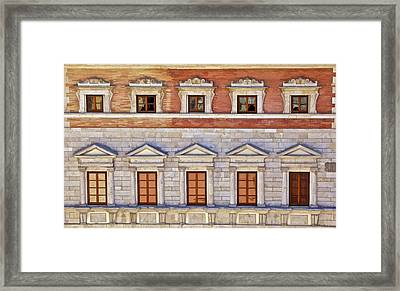 Ornate Carved Stone Windows Of A Government Building In Tuscany Framed Print