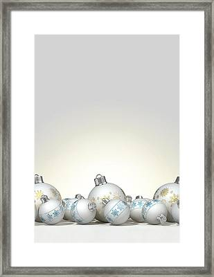 Ornate Matte White Christmas Baubles Framed Print by Allan Swart