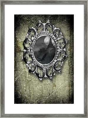 Ornate Metal Mirror Reflecting Church Framed Print by Amanda Elwell