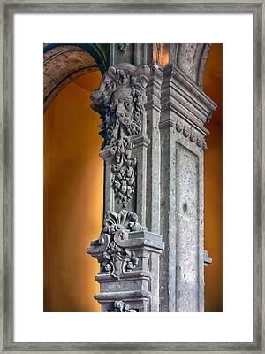 Ornate Mexican Stone Column Framed Print by Lynn Palmer