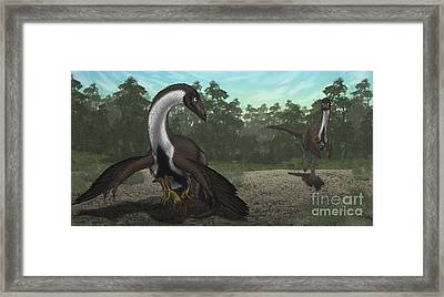 Ornithomimus Mother Dinosaur Framed Print by Vitor Silva