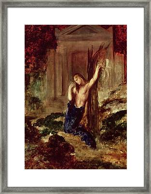 Orpheus At The Tomb Of Eurydice Framed Print by Gustave Moreau