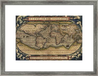 Ortelius Old World Map Framed Print