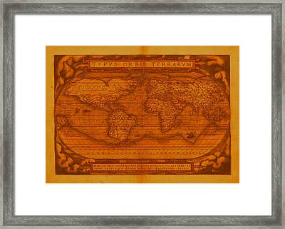 Ortelius World Map 1570 Ad Faded And Discolored Framed Print by L Brown