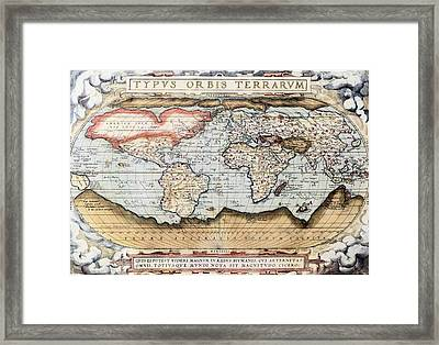 Ortelius World Map 1570 Ad Framed Print by L Brown