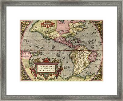 Ortelius's Map Of The New World, 1603 Framed Print by Middle Temple Library