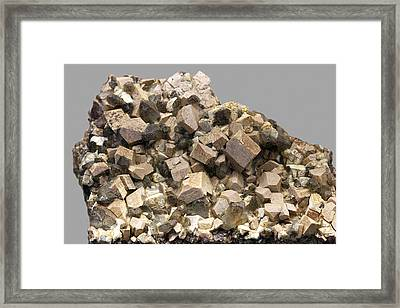 Orthoclase And Quartz Crystals Framed Print by Science Photo Library