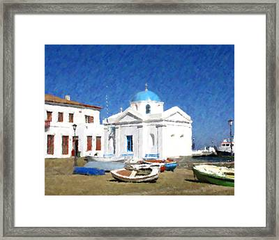 Orthodox Church Mykonos Island Greece Framed Print by Dan Chavez