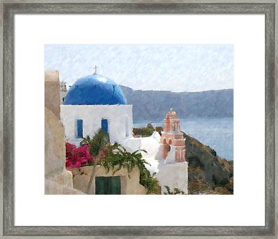 Orthodox Church Santorini Island Greece Framed Print by Dan Chavez