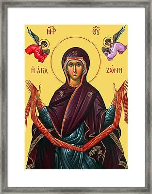 Orthodox Icon Of Mary Framed Print by Munir Alawi