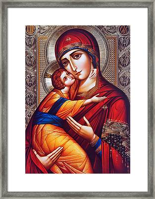 Orthodox Mary And Jesus Framed Print by Munir Alawi