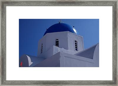 Orthodox Santorini Church Greece Framed Print