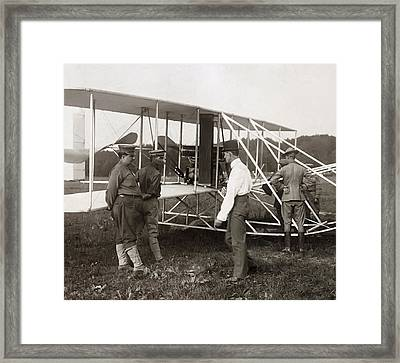 Orville Wright And Aeroplane  1908 Framed Print by Daniel Hagerman