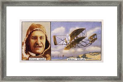 Orville Wright And Biplane Framed Print by Mary Evans Picture Library