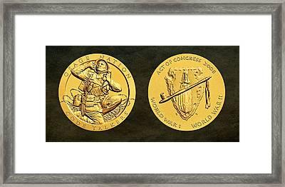 Osage Nation Code Talkers Tribe Bronze Medal Art Framed Print