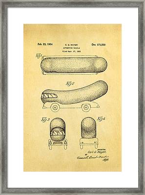 Oscar Mayer Wienermobile Patent Art 1954 Framed Print by Ian Monk