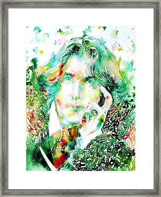 Oscar Wilde Watercolor Portrait.2 Framed Print by Fabrizio Cassetta