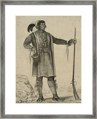 Osceola, Seminole Chief Of Florida Framed Print by Everett