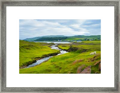 Osdale River Leading Into Loch Dunvegan In Scotland Framed Print