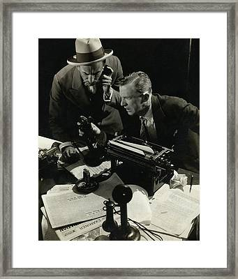 Osgood Perkins And Lee Tracey Acting Framed Print by Edward Steichen