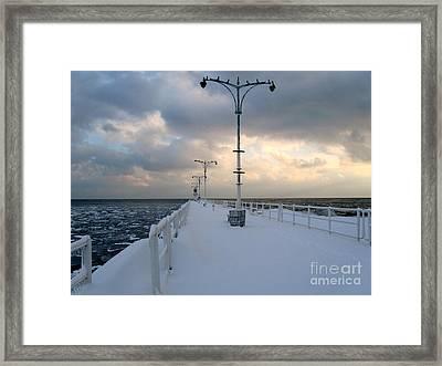 Oshawa Pier In December Framed Print by Avis  Noelle