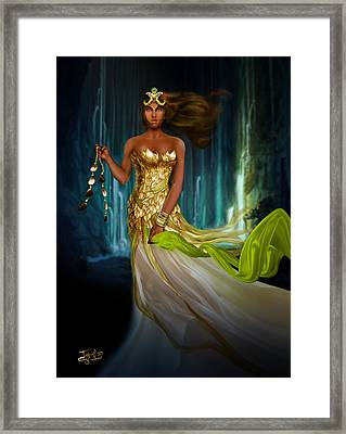 Oshun Behind The Falls Framed Print