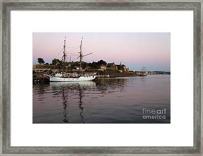 Oslo Harbor At Sunset Framed Print by Carol Groenen